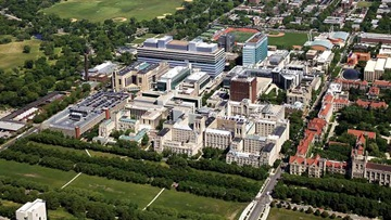 An aerial photo of the UChicago Medicine campus.
