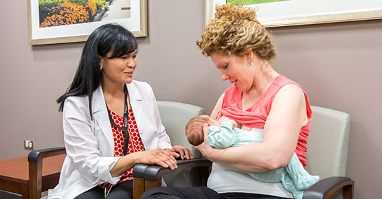 New Mother with a Doctor in the Family Birth Center Breastfeeding Class