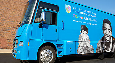 A side view of the pediatric mobile medical bus